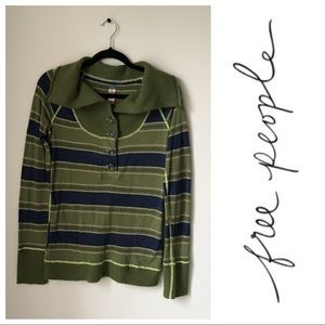 Free People Striped Sweater Collar Pullover